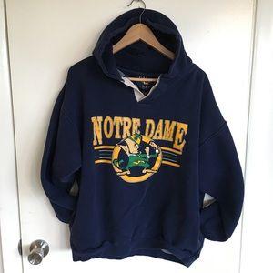 Vintage NOTRE DAME College Hoodie Sweatshirt Men L